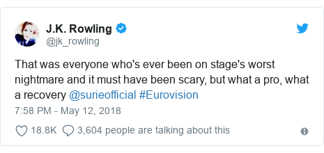 Twitter post by @jk_rowling: That was everyone who's ever been on stage's worst nightmare and it must have been scary, but what a pro, what a recovery @surieofficial #Eurovision