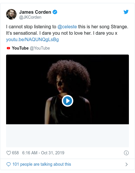 Twitter post by @JKCorden: I cannot stop listening to @celeste this is her song Strange. It's sensational. I dare you not to love her. I dare you x