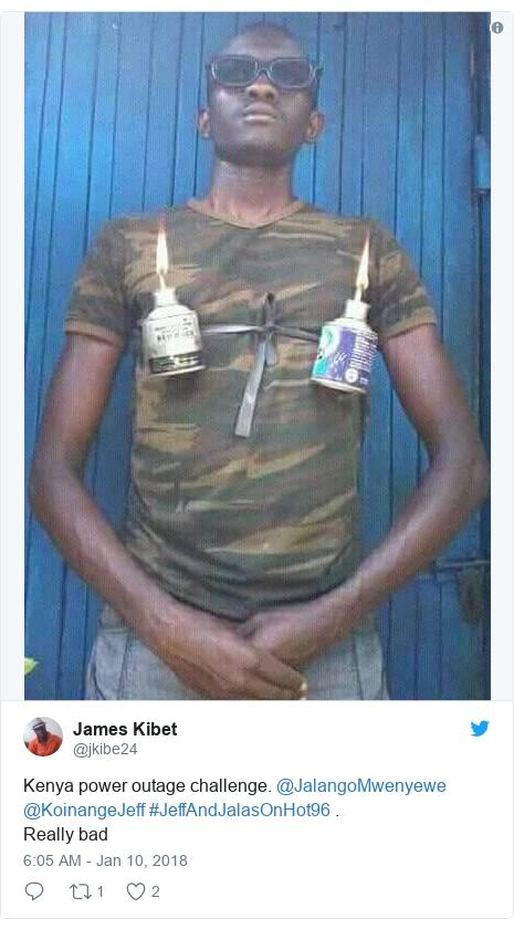 Ujumbe wa Twitter wa @jkibe24: Kenya power outage challenge. @JalangoMwenyewe @KoinangeJeff #JeffAndJalasOnHot96 .Really bad