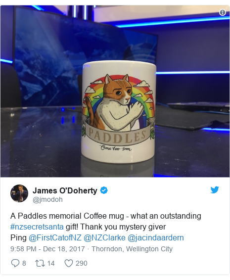 Twitter post by @jmodoh: A Paddles memorial Coffee mug - what an outstanding #nzsecretsanta gift! Thank you mystery giverPing @FirstCatofNZ @NZClarke @jacindaardern