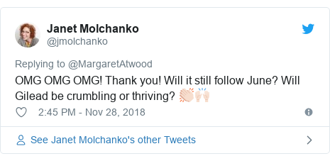Twitter post by @jmolchanko: OMG OMG OMG! Thank you! Will it still follow June? Will Gilead be crumbling or thriving? 👏🏻🙌🏻