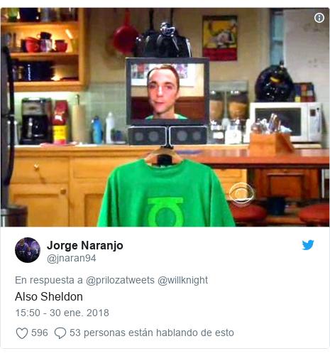 Publicación de Twitter por @jnaran94: Also Sheldon