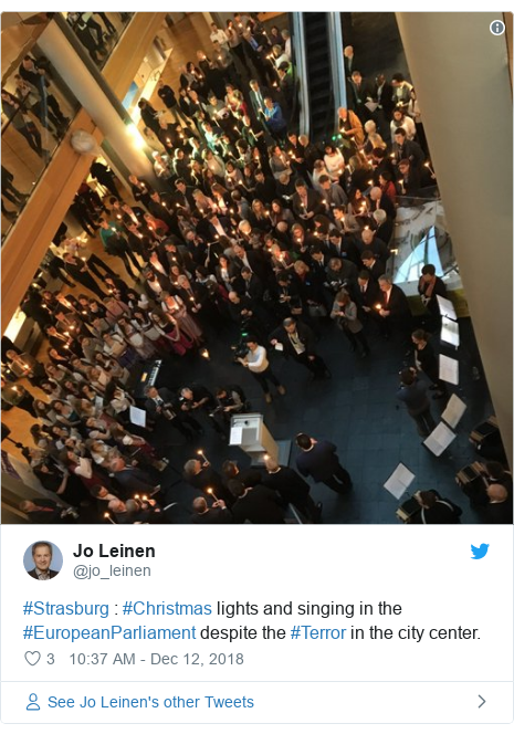 Twitter post by @jo_leinen: #Strasburg   #Christmas lights and singing in the #EuropeanParliament despite the #Terror in the city center.