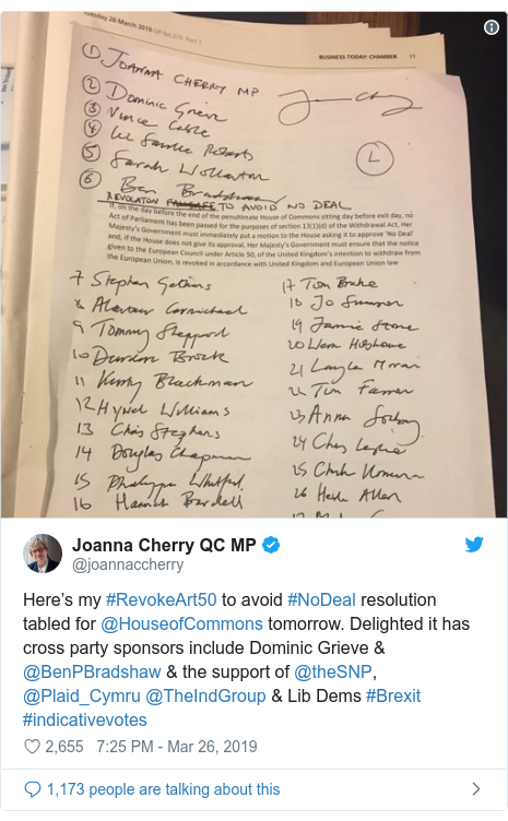 Twitter post by @joannaccherry: Here's my #RevokeArt50 to avoid #NoDeal resolution tabled for @HouseofCommons tomorrow. Delighted it has cross party sponsors include Dominic Grieve & @BenPBradshaw & the support of @theSNP, @Plaid_Cymru @TheIndGroup & Lib Dems #Brexit #indicativevotes