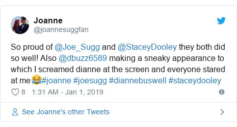 Twitter post by @joannesuggfan: So proud of @Joe_Sugg and @StaceyDooley they both did so well! Also @dbuzz6589 making a sneaky appearance to which I screamed dianne at the screen and everyone stared at me😂#joanne #joesugg #diannebuswell #staceydooley