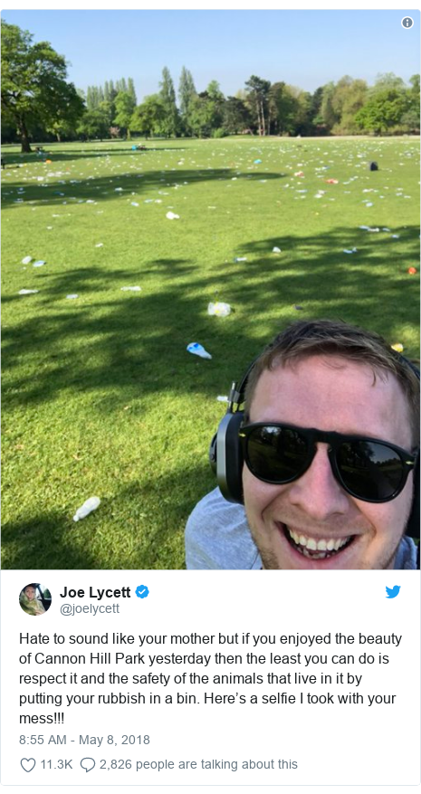Twitter post by @joelycett: Hate to sound like your mother but if you enjoyed the beauty of Cannon Hill Park yesterday then the least you can do is respect it and the safety of the animals that live in it by putting your rubbish in a bin. Here's a selfie I took with your mess!!!