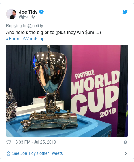 Twitter post by @joetidy: And here's the big prize (plus they win $3m....) #FortniteWorldCup