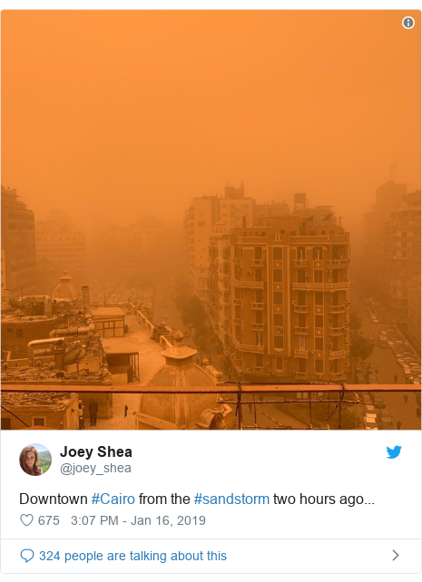 Twitter post by @joey_shea: Downtown #Cairo from the #sandstorm two hours ago...