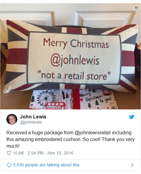 Twitter post by @johnlewis: Received a huge package from @johnlewisretail including this amazing embroidered cushion. So cool! Thank you very much!