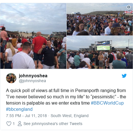 "Twitter post by @johnnyoshea: A quick poll of views at full time in Perranporth ranging from ""I've never believed so much in my life"" to ""pessimistic"" - the tension is palpable as we enter extra time #BBCWorldCup #bbcengland"