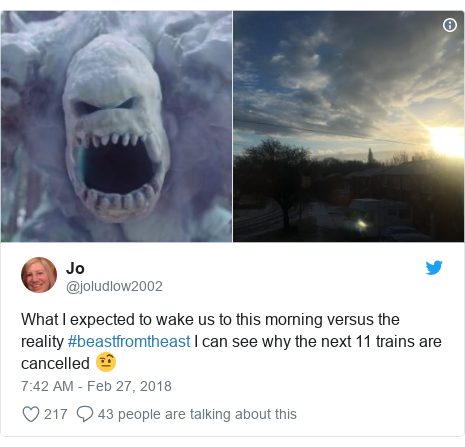 Twitter post by @joludlow2002: What I expected to wake us to this morning versus the reality #beastfromtheast I can see why the next 11 trains are cancelled 🤨