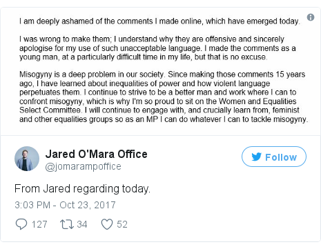Twitter post by @jomarampoffice: From Jared regarding today.