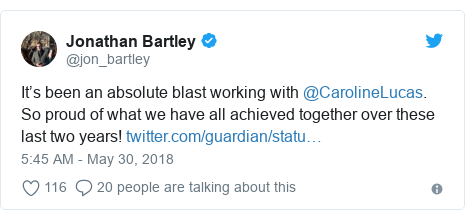Twitter post by @jon_bartley: It's been an absolute blast working with @CarolineLucas. So proud of what we have all achieved together over these last two years!
