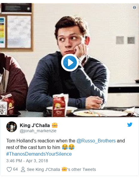 Twitter post by @jonah_markenzie: Tom Holland's reaction when the @Russo_Brothers and rest of the cast turn to him 😂😂#ThanosDemandsYourSilence