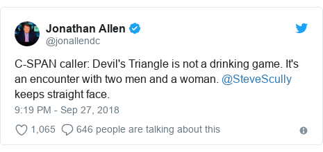 Twitter post by @jonallendc: C-SPAN caller  Devil's Triangle is not a drinking game. It's an encounter with two men and a woman. @SteveScully keeps straight face.