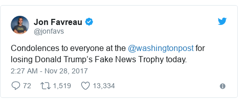 Twitter post by @jonfavs: Condolences to everyone at the @washingtonpost for losing Donald Trump's Fake News Trophy today.