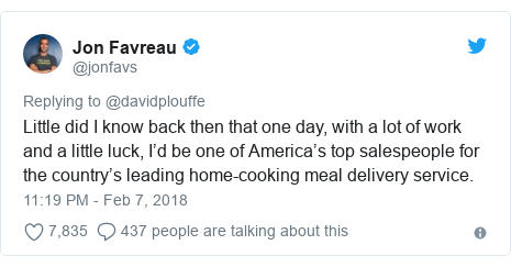 Twitter post by @jonfavs: Little did I know back then that one day, with a lot of work and a little luck, I'd be one of America's top salespeople for the country's leading home-cooking meal delivery service.