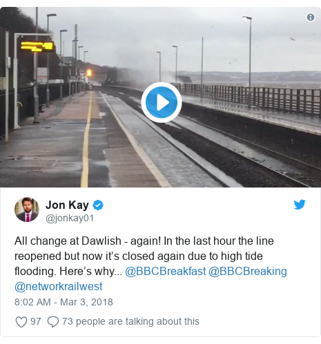 Twitter post by @jonkay01: All change at Dawlish - again! In the last hour the line reopened but now it's closed again due to high tide flooding. Here's why... @BBCBreakfast @BBCBreaking @networkrailwest