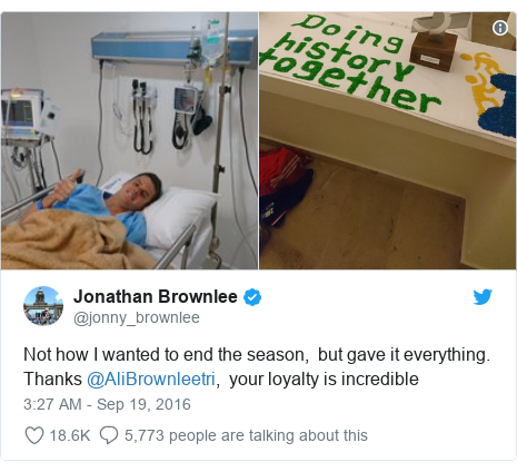 Twitter post by @jonny_brownlee: Not how I wanted to end the season,  but gave it everything. Thanks @AliBrownleetri,  your loyalty is incredible
