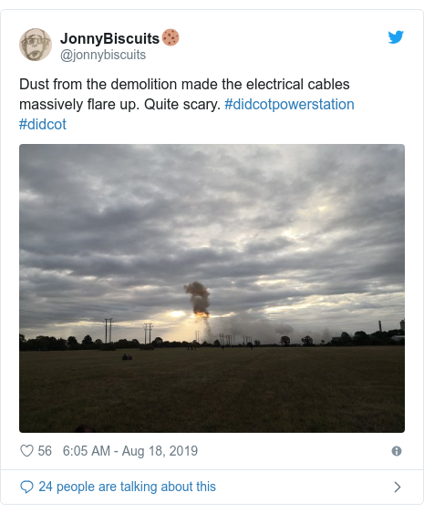 Twitter post by @jonnybiscuits: Dust from the demolition made the electrical cables massively flare up. Quite scary. #didcotpowerstation #didcot