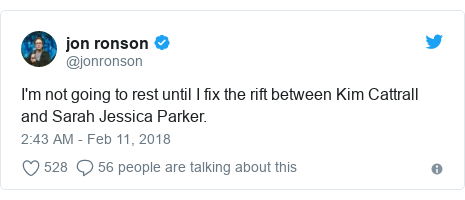 Twitter post by @jonronson: I'm not going to rest until I fix the rift between Kim Cattrall and Sarah Jessica Parker.
