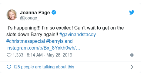 Twitter post by @jopage_: It's happening!!! I'm so excited! Can't wait to get on the slots down Barry again!! #gavinandstacey #christmasspecial #barryisland