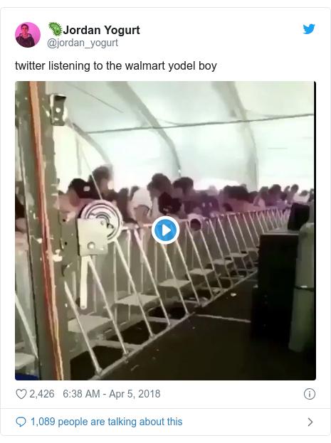 Twitter post by @jordan_yogurt: twitter listening to the walmart yodel boy