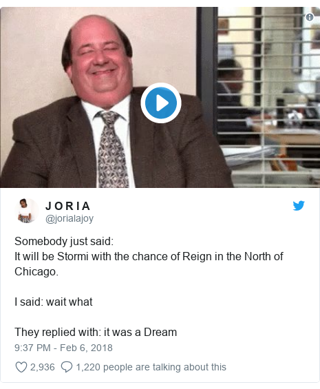Twitter post by @jorialajoy: Somebody just said It will be Stormi with the chance of Reign in the North of Chicago.I said  wait whatThey replied with  it was a Dream