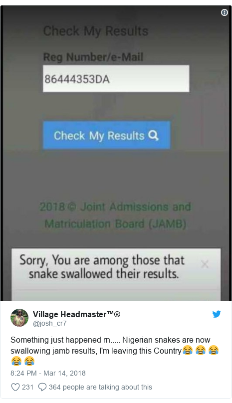 Twitter post by @josh_cr7: Something just happened rn..... Nigerian snakes are now swallowing jamb results, I'm leaving this Country😂 😂 😂 😂 😂