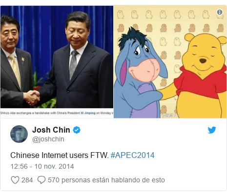 Publicación de Twitter por @joshchin: Chinese Internet users FTW. #APEC2014