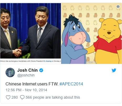 Twitter post by @joshchin: Chinese Internet users FTW. #APEC2014