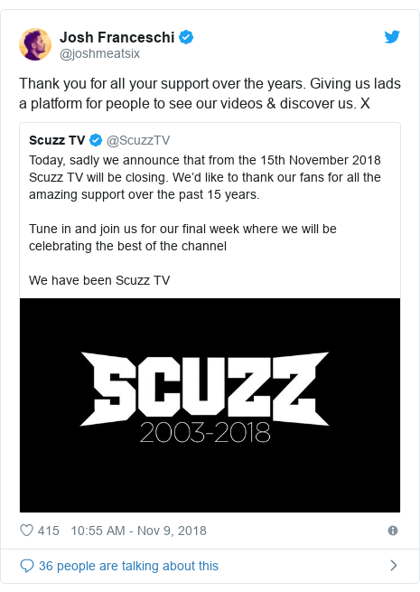 Twitter post by @joshmeatsix: Thank you for all your support over the years. Giving us lads a platform for people to see our videos & discover us. X