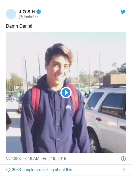 Twitter post by @Josholzz: Damn Daniel