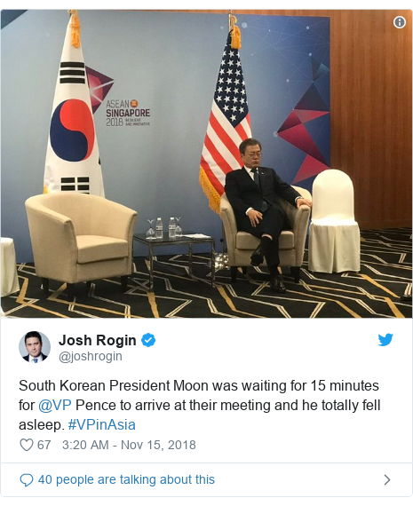 Twitter post by @joshrogin: South Korean President Moon was waiting for 15 minutes for @VP Pence to arrive at their meeting and he totally fell asleep. #VPinAsia