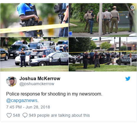 Twitter post by @joshuamckerrow: Police response for shooting in my newsroom. @capgaznews.