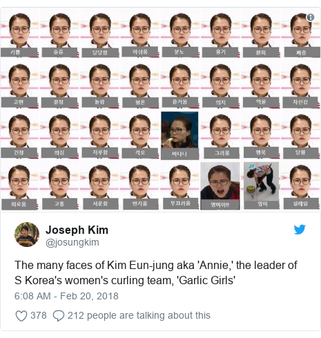Twitter post by @josungkim: The many faces of Kim Eun-jung aka 'Annie,' the leader of S Korea's women's curling team, 'Garlic Girls'