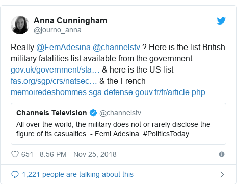 Twitter post by @journo_anna: Really @FemAdesina @channelstv ? Here is the list British military fatalities list available from the government  & here is the US list  & the French