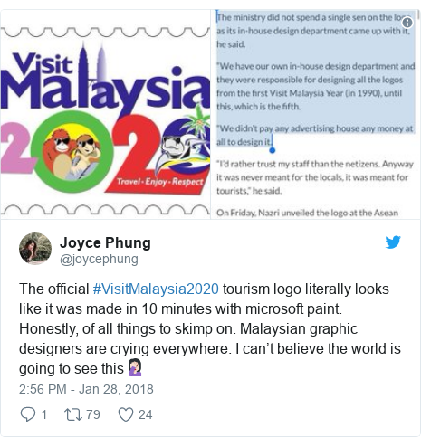 Twitter post by @joycephung: The official #VisitMalaysia2020 tourism logo literally looks like it was made in 10 minutes with microsoft paint. Honestly, of all things to skimp on. Malaysian graphic designers are crying everywhere. I can't believe the world is going to see this🤦🏻♀️
