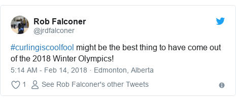 Twitter post by @jrdfalconer: #curlingiscoolfool might be the best thing to have come out of the 2018 Winter Olympics!