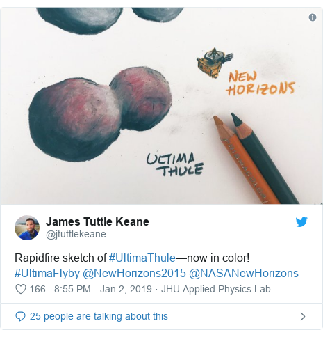 Twitter post by @jtuttlekeane: Rapidfire sketch of #UltimaThule—now in color! #UltimaFlyby @NewHorizons2015 @NASANewHorizons