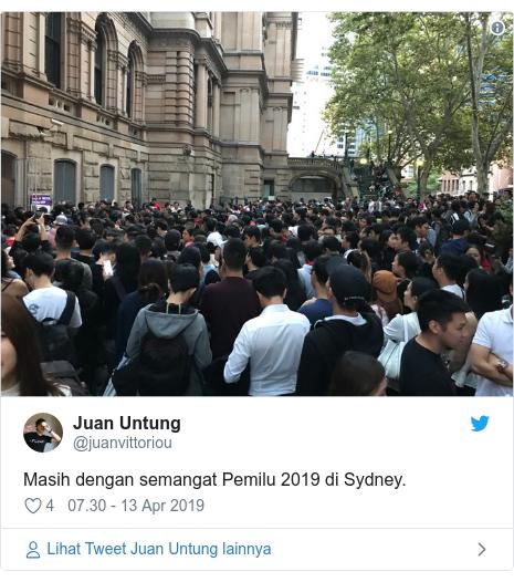 Twitter pesan oleh @juanvittoriou: Masih dengan semangat Pemilu 2019 di Sydney.