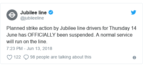 Twitter post by @jubileeline: Planned strike action by Jubilee line drivers for Thursday 14 June has OFFICIALLY been suspended. A normal service will run on the line.