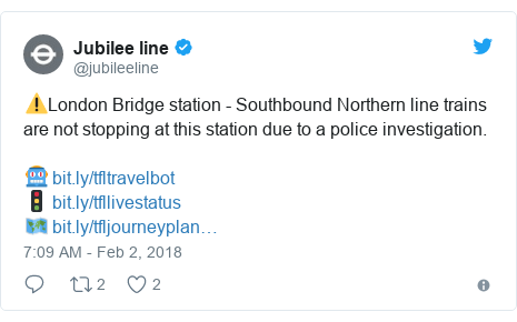 Twitter post by @jubileeline: ⚠London Bridge station - Southbound Northern line trains are not stopping at this station due to a police investigation.🤖 🚦 🗺
