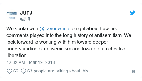 Twitter post by @jufj: We spoke with @trayonwhite tonight about how his comments played into the long history of antisemitism. We look forward to working with him toward deeper understanding of antisemitism and toward our collective liberation.