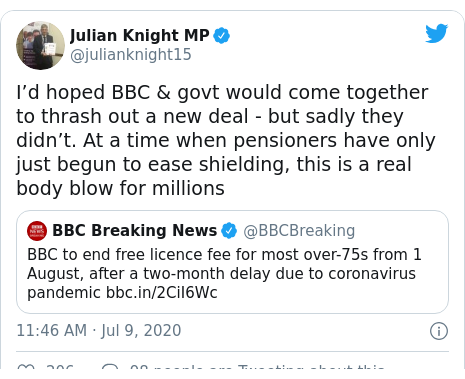 Twitter post by @julianknight15: I'd hoped BBC & govt would come together to thrash out a new deal - but sadly they didn't. At a time when pensioners have only just begun to ease shielding, this is a real body blow for millions