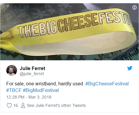 Twitter post by @julie_ferret: For sale, one wristband, hardly used  #BigCheeseFestival #TBCF #BigMudFestival