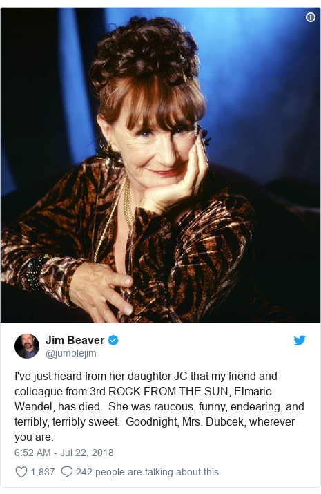 Twitter post by @jumblejim: I've just heard from her daughter JC that my friend and colleague from 3rd ROCK FROM THE SUN, Elmarie Wendel, has died.  She was raucous, funny, endearing, and terribly, terribly sweet.  Goodnight, Mrs. Dubcek, wherever you are.