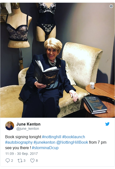 Twitter допис, автор: @june_kenton: Book signing tonight #nottinghill #booklaunch #autobiography #junekenton @NottingHillBook from 7 pm see you there ! #storminaDcup