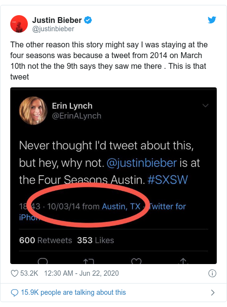 Twitter post by @justinbieber: The other reason this story might say I was staying at the four seasons was because a tweet from 2014 on March 10th not the the 9th says they saw me there . This is that tweet