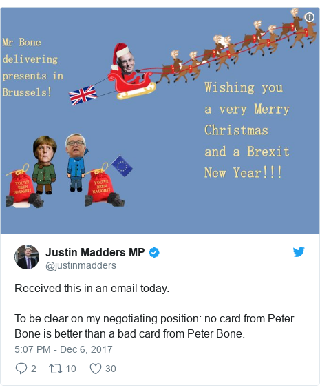 Twitter post by @justinmadders: Received this in an email today.  To be clear on my negotiating position  no card from Peter Bone is better than a bad card from Peter Bone.